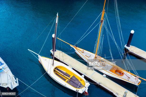 Sailing boats at marina, high angle view, background, copy space