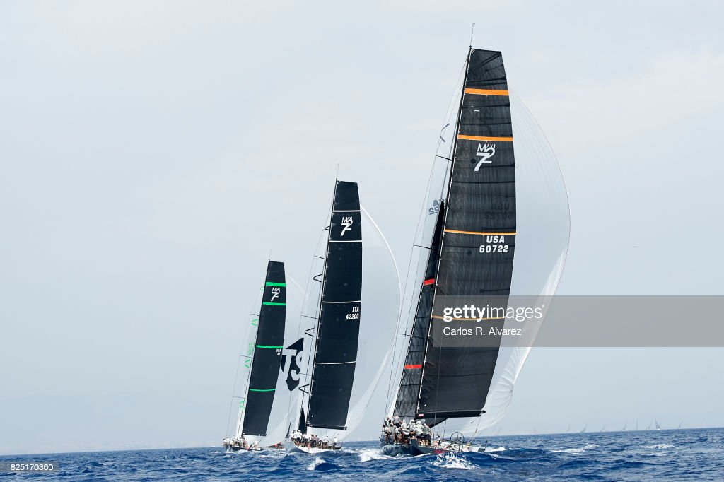 Sailing boats compete during a leg of the 36th Copa del Rey Mapfre Sailing Cup on August 1, 2017 in Palma de Mallorca, Spain.