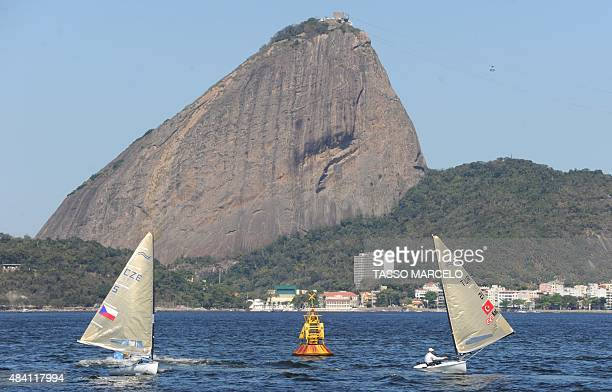Sailing boats compete in the International Sailing Regatta held in the Guanabara Bay in Rio de Janeiro Brazil on 15 August 2015 an event that serves...