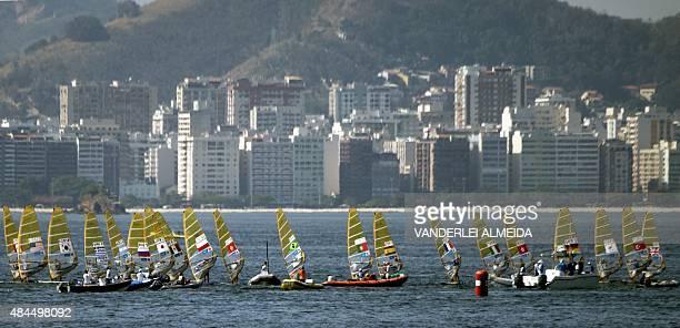 Sailing boats compete in the International Sailing Regatta held in the Guanabara Bay in Rio de Janeiro Brazil on August 19 an event that serves as a...