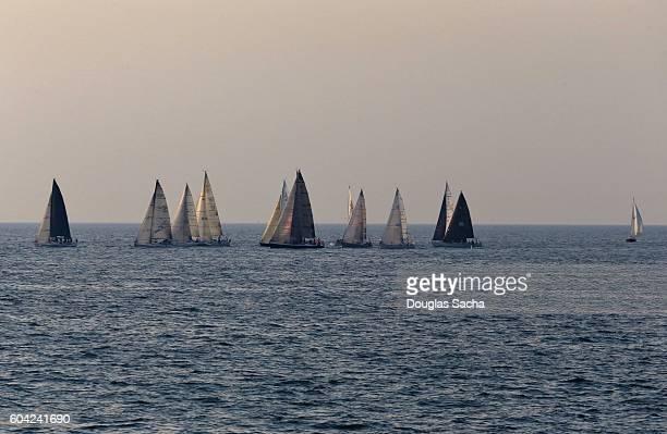 Sailing boats congregate at the racing regatta