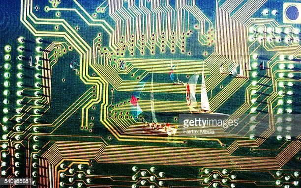 Sailing boats in circuit board