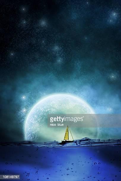セーリングで月光