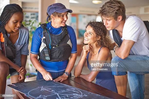Sailing friends looking at blackboard diagram on table
