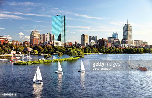 Sailboats on the Charles River with Boston's Back Bay skyline in the background. Boston is the largest city in New England, the capital of the state of Massachusetts. Boston is known for its central role in American history,world-class educational institutions, cultural facilities, and champion sports franchises.