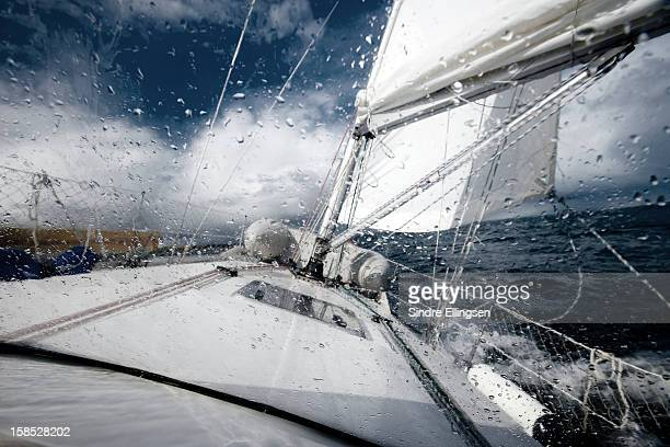Sailing in the North Sea during a storm