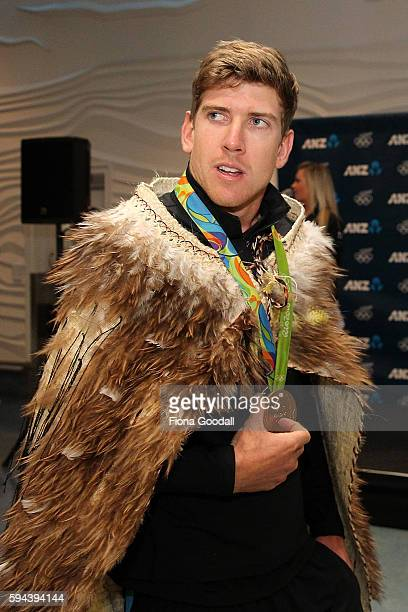 Sailing Olympic Gold medalist Peter Burling arrives during the New Zealand Olympic Games athlete home coming at Auckland International Airport on...