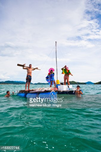Sailing on a makeshift handmade raft.