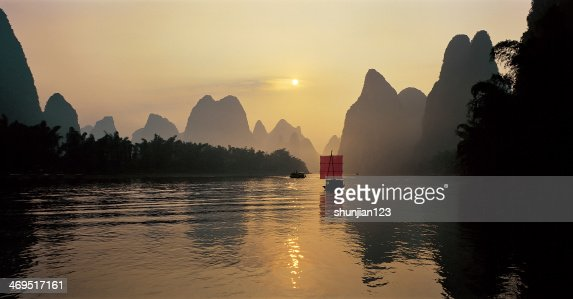 Sailing on the Li river : Stock Photo