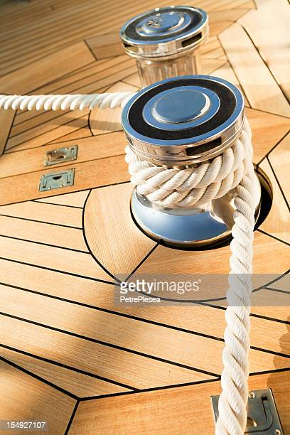 Sailing rope on the yacht's capstan winch