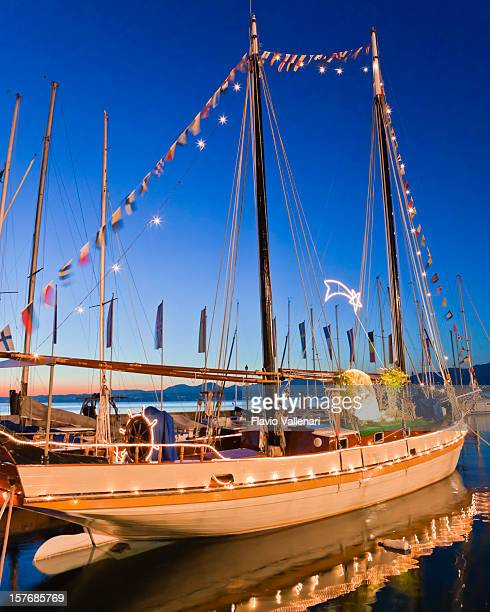 Sailing Ship Decorated for Christmas, Lake Garda