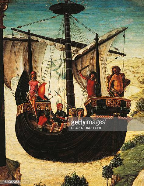 Sailing ship detail from The expedition of the Argonauts 14841490 by Lorenzo Costa the Elder tempera on panel 46x53 cm Padova Musei Civici Eremitani