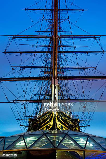 Sailing ship in Greenwich at dusk