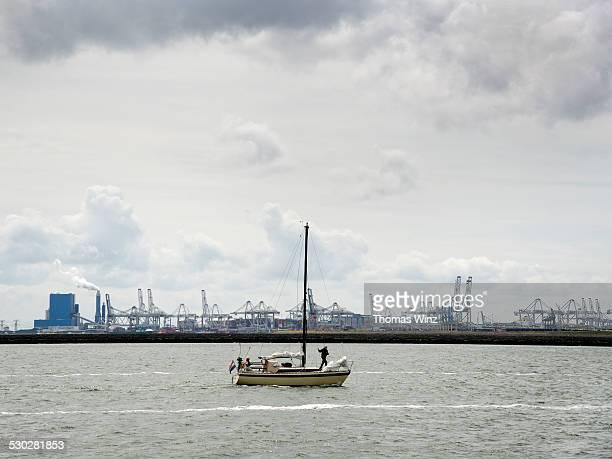 Sailing ship passing Rotterdam Harbor