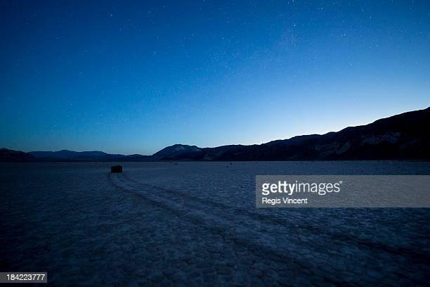 Sailing stones at Racetrack playa at dawn