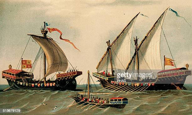Sailing vessels History 16th century Engraving colored Library of Catalonia Barcelona Spain