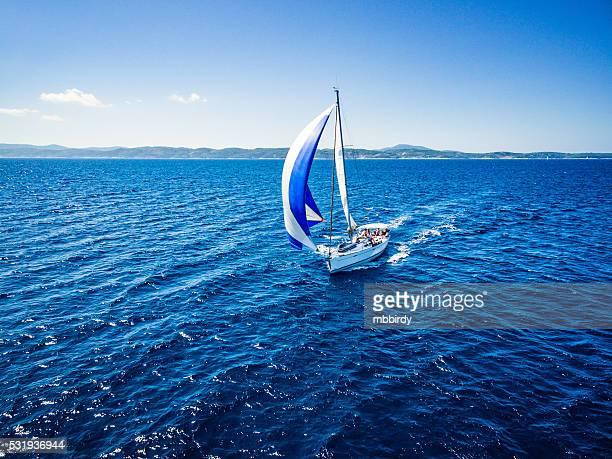 Segeln mit Segelboot, Blick vom Hintergrundgeräusche