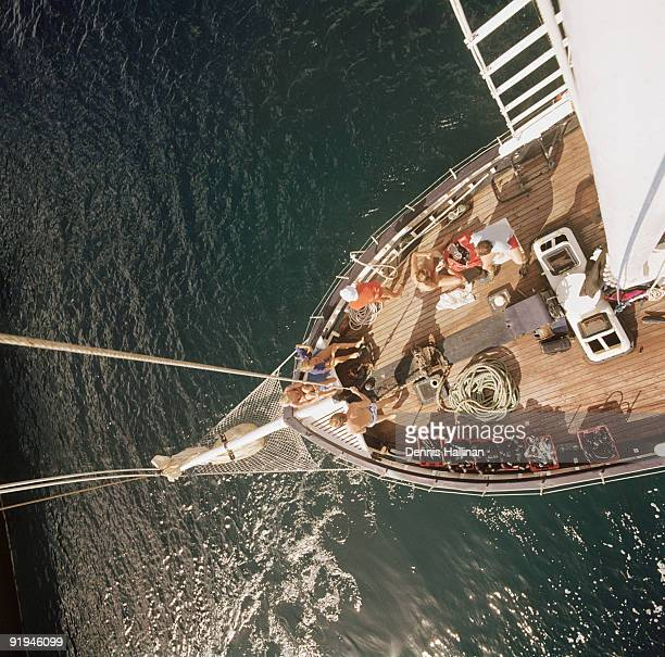 Sailing yacht photographed from top of mast