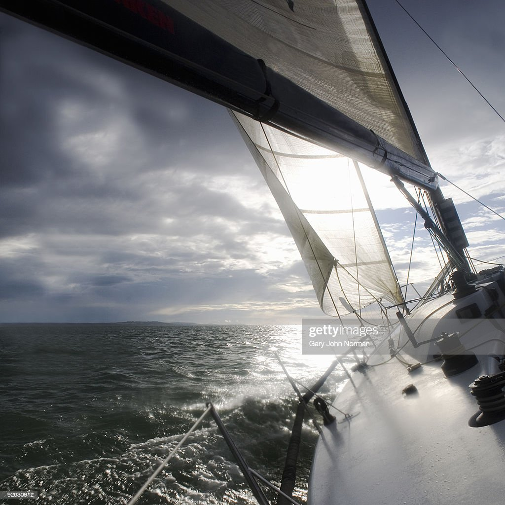 Sailing yacht with Stormy sky : Stock Photo