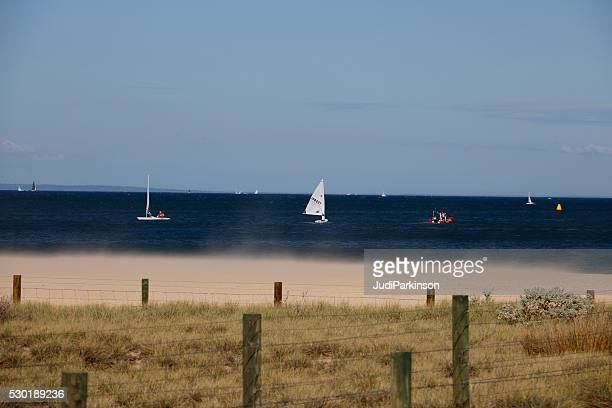 Sailing Yachts Close to Shore with Wind Blowing Sand