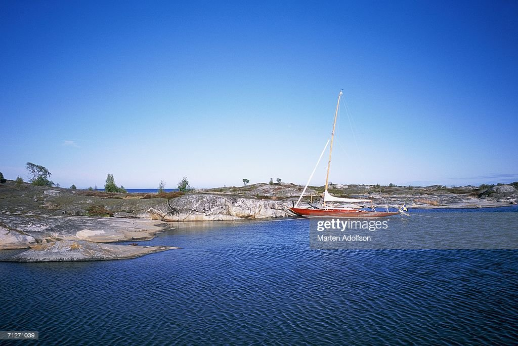 A sailing-boat in the archipelago. : Stock Photo