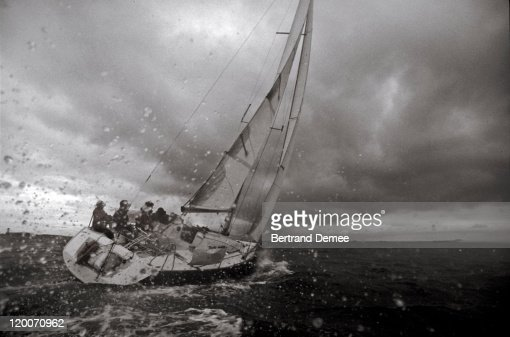 Sailing-boat on stormy sea : Stock Photo