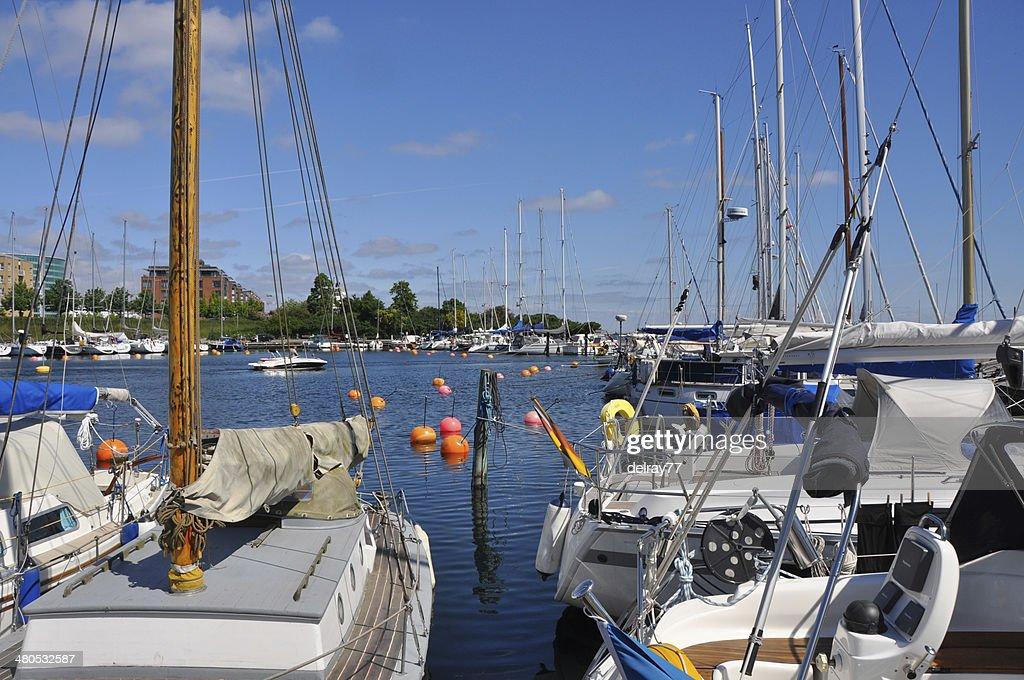 sailingboats in copenhagen harbour : Stock Photo