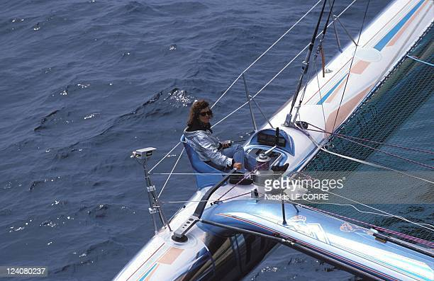 Sailing/'Europe 1 star' departure In Plymouth United Kingdom On June 07 1992 Florence Arthaud on 'Pierre 1er'