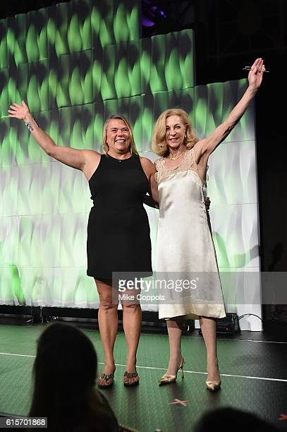 Sailor Dawn Riley and Runner Kathrine Switzer walk onstage at the 37th Annual Salute To Women In Sports Gala at Cipriani Wall Street on October 19...