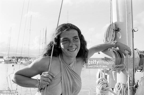 Sailor Florence Arthaud Takes Part In The First Edition Of The Route Du Rum En Novembre 1978 en France en Bretagne dans le cadre de première édition...