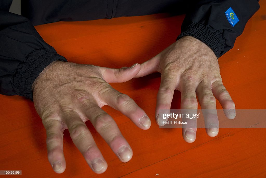 Sailor Francois Gabart's hands after winning the Vendee Globe 2013 record with his boat Macif on January 27, 2013 in Sables d'Olonne,France. He won the Vendee Globe 2013, smashing the record round the world solo in 78 days 2 hours and 16 minutes.