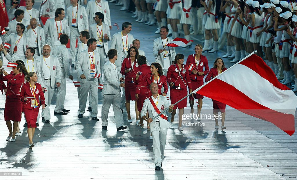 Sailor Hans-Peter Steinacher of Austria carries his country's flag during the Opening Ceremony for the 2008 Beijing Summer Olympics at the National Stadium on August 8, 2008 in Beijing, China.