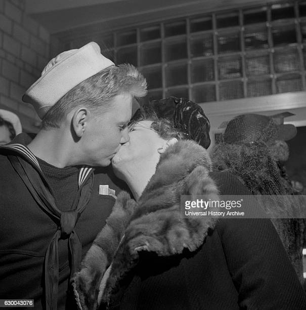 Sailor Kissing his Mother Goodbye at Greyhound Bus Terminal Washington DC USA Esther Bubley for Office of War Information April 1943