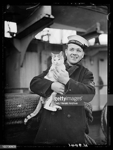 Sailor with ship's cat 15 February 1940 Sailor from HMS Exeter holding Pincher ship's cat and mascot HMS Exeter took part in the battle which...