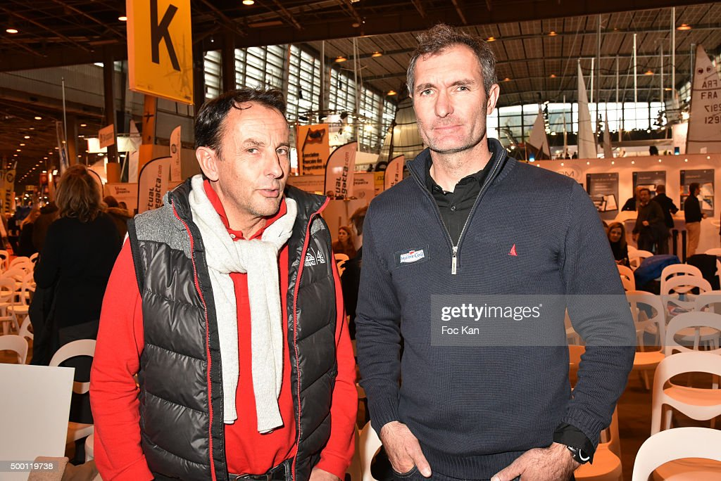 Sailors Allain Gautier and Jeremie Beyou attend the '727 Sailbags' Auction in Benefit to 'Les Toiles Enchantees' Children Care Association To...