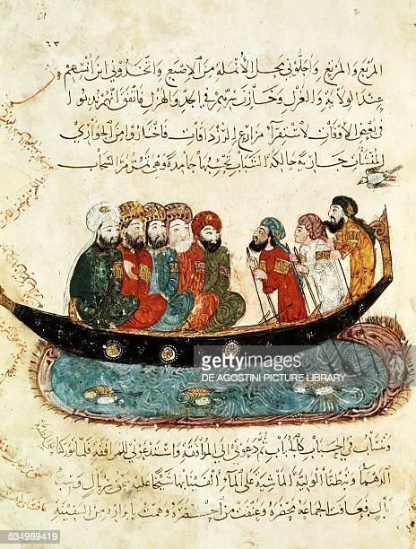 Sailors at sea miniature from the Maqamat by AlHariri 13thcentury Arabic manuscript Paris Bibliothèque Nationale De France