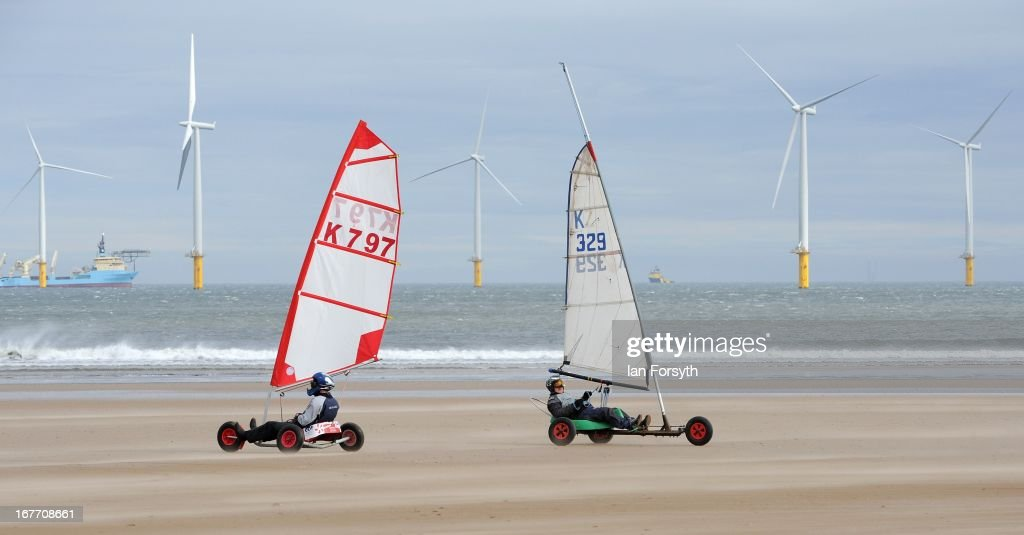 Sailors compete in land yacht racing in the Redcar Regatta on Coatham Beach on April 28, 2013 in Redcar, England. The event brought together some of the United Kingdom's best land sailors across all classes of competition, which saw land yacht racing return to the beach for the first time in nearly 30 years.