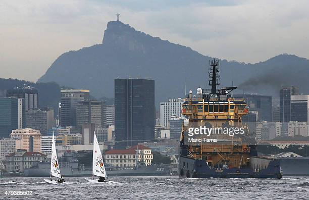 Sailors from Belgium depart after training in the polluted Guanabara Bay ahead of the Rio 2016 Olympic Games on July 3 2015 in Rio de Janeiro Brazil...