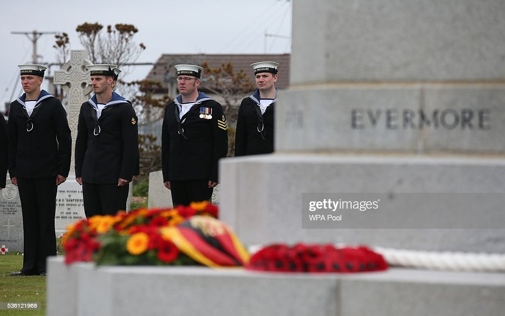 Sailors from HMS Bulwark attend a service at Lyness Cemetery during the 100th anniversary commemorations for the Battle of Jutland on May 31, 2016 in Hoy, Scotland. The event marks the centenary of the largest naval battle of World War One where more than 6,000 Britons and 2,500 Germans died in the Battle of Jutland fought near the coast of Denmark on 31 May and 1 June 1916.
