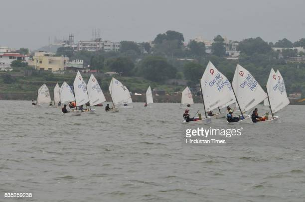 Sailors in action during Raja Bhoj multiclass sailing championship organized by Yachting Association of India on August 18 2017 in Bhopal India