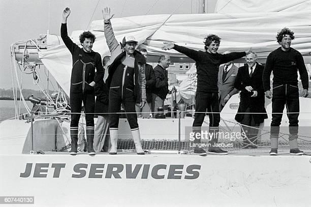 Sailors Jean le Cam Patrick Morvan Serge Madec and Marc Guillemot winners of the Atlantic Record