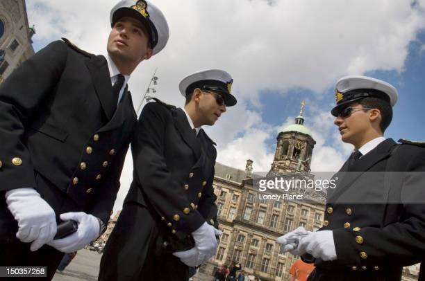 Sailors outside the Royal Palace in city centre of Amsterdam.