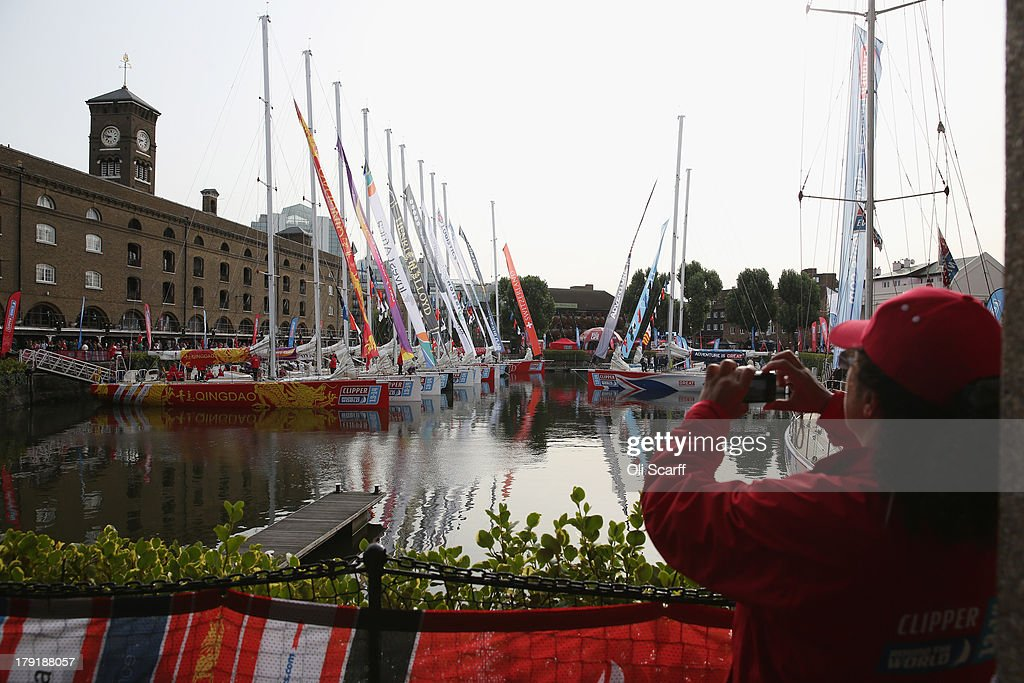 Sailors prepare their boats to depart from St Katharine Docks for the start of the 'Clipper 2013-14 Round the World Yacht Race' on September 1, 2013 in London, England. The race is set to be the largest in the event's history with 12 yachts manned by 670 crew from over 40 different nations. The 40,000 mile, 8 leg course is set to visit six continents and take approximately eleven months to complete.