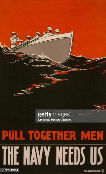 Sailors Rowing Boat 'Pull Together Men The Navy Needs Us' World War I Recruitment Poster by Paul M Boomhower USA 1917