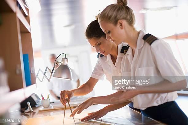 Sailors setting the compasses