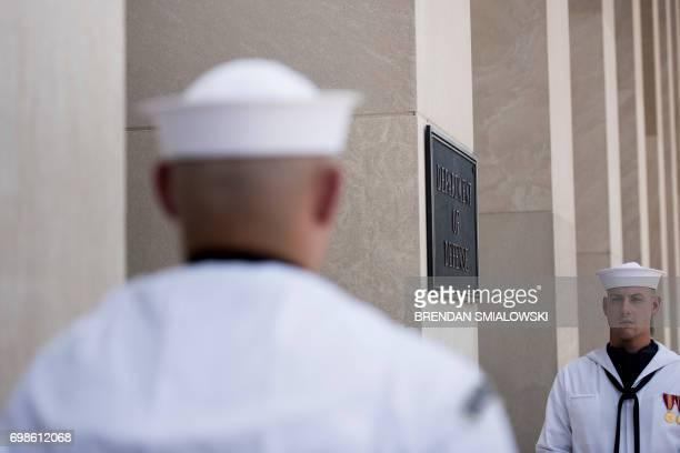 Sailors wait for US Secretary of Defense James Mattis to greet Ukraine's President Petro Poroshenko outside the Pentagon on June 20 2017 in...