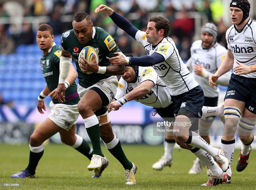 <a gi-track='captionPersonalityLinkClicked' href=/galleries/search?phrase=Sailosi+Tagicakibau&family=editorial&specificpeople=625319 ng-click='$event.stopPropagation()'>Sailosi Tagicakibau</a> of London Irish bursts through the Sale defence during the Aviva Premiership match between London Irish and Sales Sharks at the Madejski Stadium on March 31, 2013 in Reading, England.