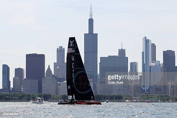 USA sails during Day 1 of the Louis Vuitton America's Cup World Series Race on June 11 2016 in Chicago Illinois