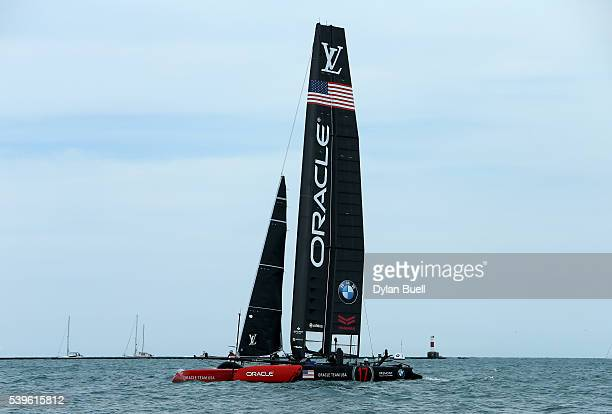USA sails during Day 2 of the Louis Vuitton America's Cup World Series Race on June 12 2016 in Chicago Illinois