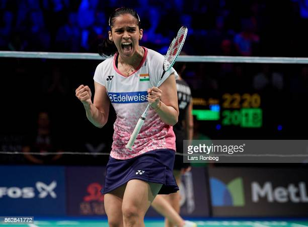 Saina Nehwal of India celebrates during the day one at the DANISA Denmark Open Badminton tournament at Odense Idratshal on October 18 2017 in Odense...
